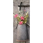 Metal Hanging Flower Holder With Leather Strap Large 12