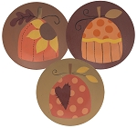 Sunflower Pumpkin Pattern Decorative Plates - 3 asst.