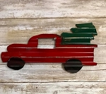 Handmade Tin Red Trucks with Trees 13