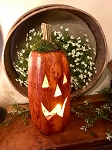 Tall Primitive Carved Orange Pumpkin Handmade