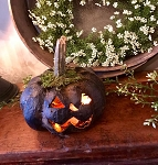 Medium Primitive Carved Pumpkin Black Handmade