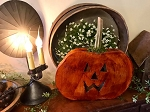 Handmade Large Flat Carved Pumpkin 14