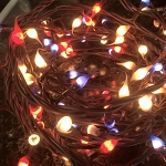 Americana Red, White, & Blue Hand Dipped Silicone Teeny Bulb Electric Light Strand