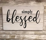 Simply Blessed Handmade Farmhouse Style Sign 12