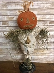 Handmade Pumpkin Scarecrow on Stand 24