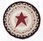 Primitive Star Burgundy Braided Rug 10