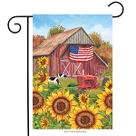 Sunflower Barn Garden Flag