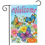 Spring Butterflies Welcome Garden Flag