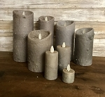 Grey Moving Flame Candles Battery Operated Timer Flameless