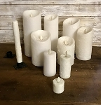 White Moving Flame Candles Battery Operated Timer Flameless