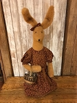 Handmade Plush Bunny in Dress with Basket 26