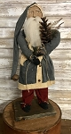 Arnett's Santa Wearing Blue Coat Holding Pinecone and Faux Greens 19