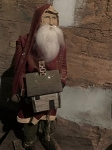 Arnett's Tall Slim Santa Wearing Red Coat Holding Doll House 24