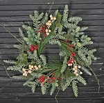 14in Wreath-Flocked Feather Pine w gooseberry