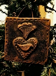 Wax Colonial Heart with Bird Ornament