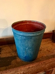 antique blue sap bucket
