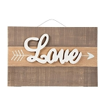Rustic Valentine Wall Decor - Love & Arrow Plaque - 19 x 12.5 inches