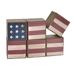 American Flag Cubes: 1.5 x 1.5 inches, 6 pieces