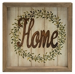 Home Wreath Framed Sign