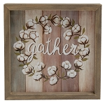 Gather Cotton Wreath Framed Sign