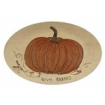 Give Thanks White Pumpkin Decorative Plate