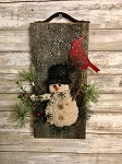 Handmade Snowman Barn Board with Leather 12