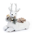Laying Woodland Snow Deer