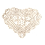 Crochet Heart Doily - Ecru - 4 inches
