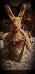 Handmade Primitive Grungy Rabbit in Old Time Skinny Sap Bucket