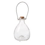 Clear Glass Wasp Trap with Wire Handle and Cork Stopper - 6 x 8 inches