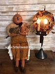 Willow Hanging or Sitting Pumpkin Doll with Cat and Pumpkin Handmade Olde Time Santas