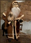 Arnett's Santa Wearing Brown Coat and Cape Holding a Sheep and Lantern 21