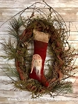 Stocking Santa Wreath by Olde Time Santas Primitive Handmade