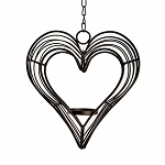 Hanging Rustic Heart Decoration: Black, 8 x 8 inches  Candle Holder