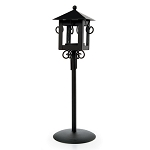 Candle Holder - Lantern with Stand - Metal - Black - 3.54 x 3.54 x 11.6 inches
