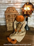 Handmade Sitting Pumpkin Gal with Ghost 24