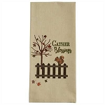 Gather Blessings Embroidered Dishtowel