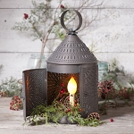 17-Inch Fireside Electric Lantern in Blackened Tin