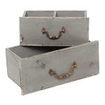 Drawer Box Set of 2 Gray Wood