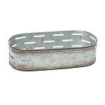 METAL OVAL PLANTER TRAY 10.75