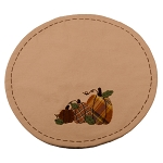 Plaid Orchard Pumpkins Candle Mat Nutmeg-Orange