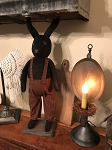 Handmade Primitive Black Bunny Rabbit on Stand 26