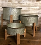 Set of 3 Galvanized Round Planter on Stand