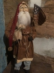 Arnett's Tall Slim Santa Brown Coat Holding Sheep and Flag 24