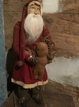 Arnett's Tall Slim Santa Wearing Red Coat Holding Gingerbread Man 24