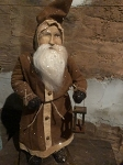 Arnett's Belsnickle Santa with Brown Coat Holding Lantern 19