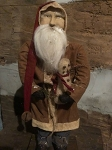 Arnett's Santa with Brown Coat Holding a Snowman 19