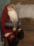 Arnett's Small Jolly Fat Sitting Santa in Blue Coat 15