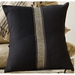 Grain Sack Stripe Oat - Black Pillow Cover
