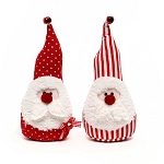 RED SANTA GNOME WITH RED NOSE AND BELL 2 ASSORTED DOTS/STRIPES SMALL 3.5